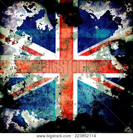 An extremely grungy distressed Union Jack flag of Britain.