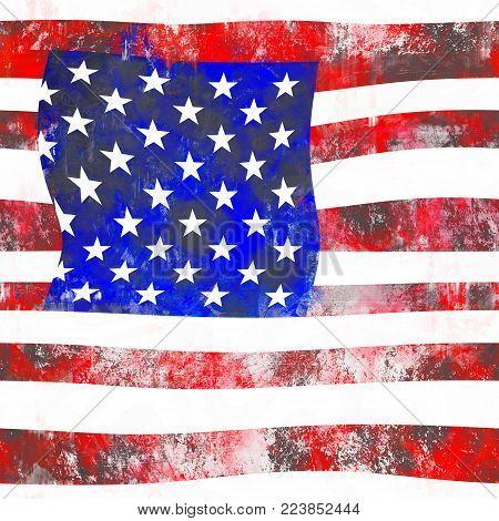 An artistic square American grunge flag design.