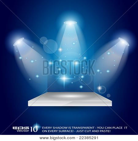 Magic Spotlights with Blue rays and glowing effect for people or product advertising. Every lights and shadow are transparent.