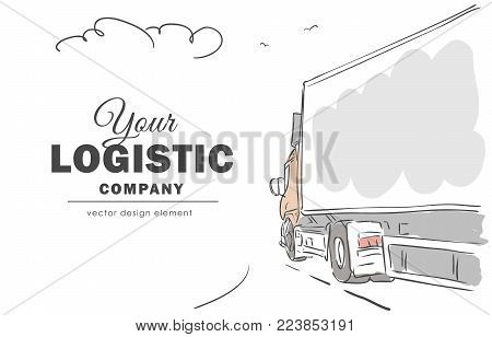 Vector illustration: Hand-drawn delivery truck on the way with space for text