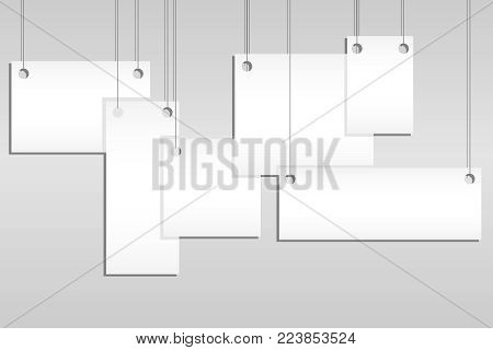 Templates of posters or empty hanging photo frames isolated on a gray background. A set of empty hanging photo frames. Flat design, vector illustration, vector.