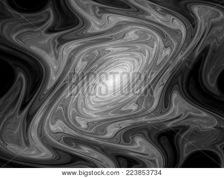 Glowing gnarl fractal object, black and white texture, computer generated abstract background, 3D rendering