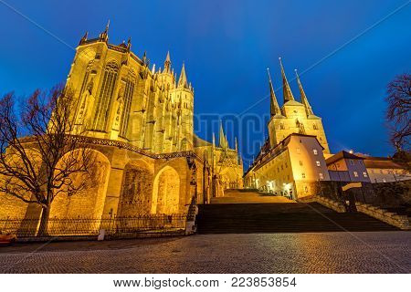 Cathedral and Severi church in Erfurt at dusk