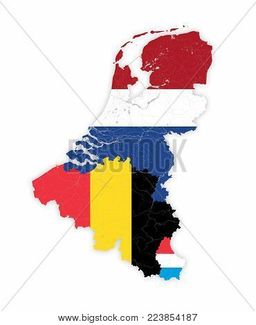 Map of BeNeLux countries with rivers and lakes in colors of the national flags. Map consists of separate maps of Belgium, Netherlands and Luxembourg that can be used separately. Please look at my other images of cartographic series - they are all very det