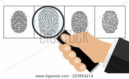 The hand with the magnifying glass looks at the fingerprint. The detective looks at the fingerprint. Flat design vector illustration, vector.