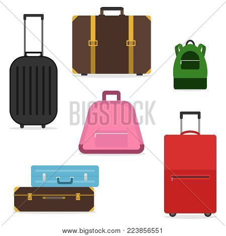 A set of suitcases and bags for travel. A suitcase of a tourist. Flat design, vector illustration, vector.
