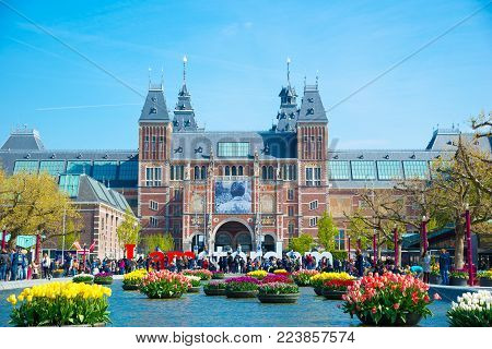 Amsterdam, Netherlands - April 20, 2017: Rijksmuseum Amsterdam museum with words I Amsterdam
