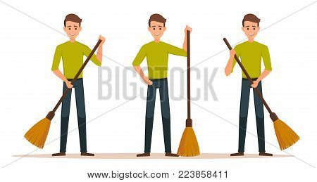 Cartoon set of Male vector character with a broom. Cleaner boy is holding a broom.Cleaner roads, streets, and parks in working  clothes with a broom in hand. Cleaning concept