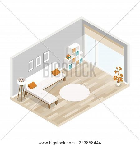 Room isometric design with sofa,table,lamp,bookcase.City hotel flat illustration.Isometric living room with furniture.Isometric luxury interior for lounge with wood floor,big window,sofa, lamp