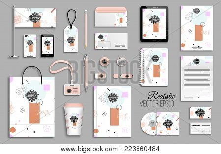 Corporate identity template set. Business stationery mock-up with logo. Branding design. Trendy 80s 90s geometric funky pink nude blue pastel background with hand drawn brush strokes and doodles.