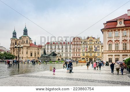 PRAGUE, CZECH REPUBLIC - July 25, 2017 : Beautiful Old Town Square in Prague, Czech Republic. July 25, 2017 in PRAGUE