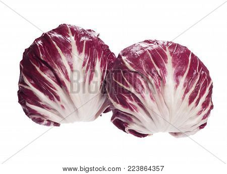 Two Radicchio salads in full size on white background. High resolution photo.