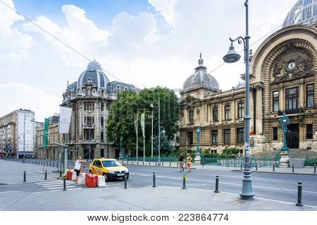 BUCHAREST, ROMANIA - August 28, 2017: CEC Bank in Old Town Bucharest, Romanian
