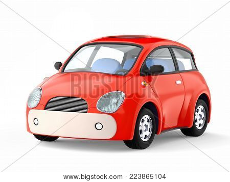 Small cute red car isolated on white. 3d illustration