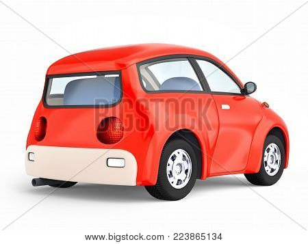 Small cute red car back view isolated on white. 3d illustration