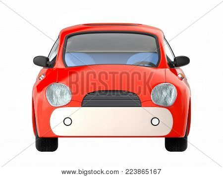 Small cute red car front view isolated on white. 3d illustration