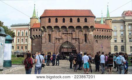 Poland, Krakow - 15 September 2015: the Barbakan defensive Bastion built in the XV century