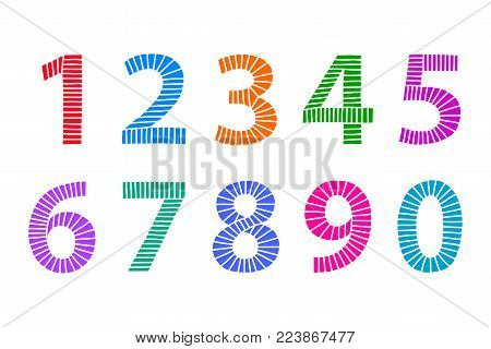Multi colored hand drawn numbers made of lines in even distances. From one to zero in coordinated bright colors. Illustration. Isolated on white background. Vector.