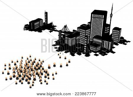 Crowd of small symbolic businessmen figures, dark office buildings city migrate, 3d illustration, horizontal, over white, isolated