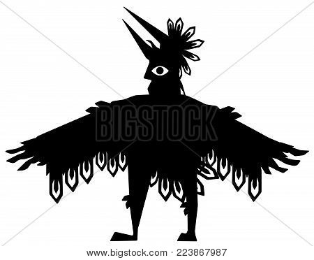 Wing man figure black silhouette, vector illustration, horizontal, over white, isolated