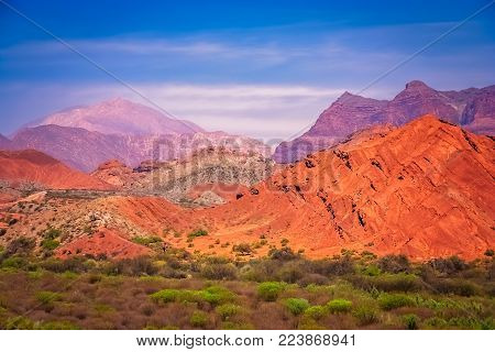 Colourful mountains of Quebrada de Humahuaca in Salta Province in Northern Argentina