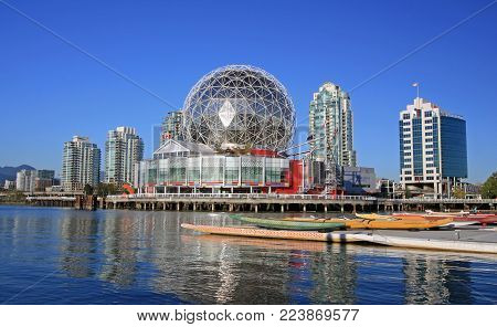 Vancouver, Canada, September 22, 2016 - Telus World of Science in Vancouver, British Columbia, Canada. The building was designed for Expo 86 and has many interactive science exhibits and displays.