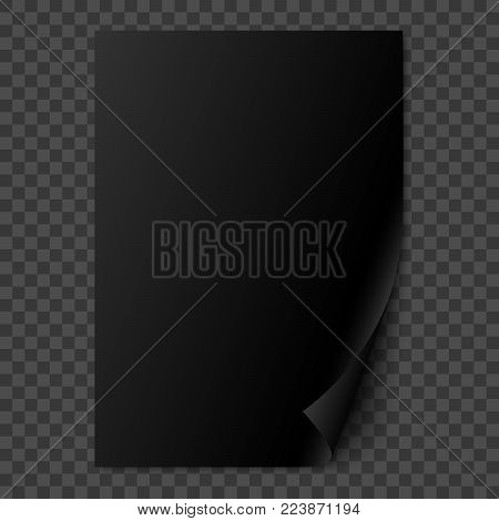 Vector black glossy realistic paper page with curled corner. Paper sheet folded with soft shadows on dark transparent background. A4 page mock up. 3d illustration. Template for your design.