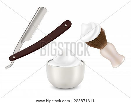 Vector realistic illustration of mug with shaving foam, shaving brush and straight barber razor isolated on white background.