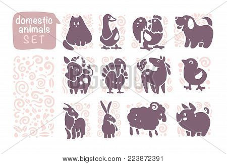 Vector collection of flat domestic cute animal icons isolated on white background. Farm animals and birds symbols. Hand drawn home animal emblems. Perfect for logo design, infographic, prints etc.