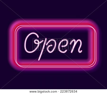 Neon sign open for bar and night club
