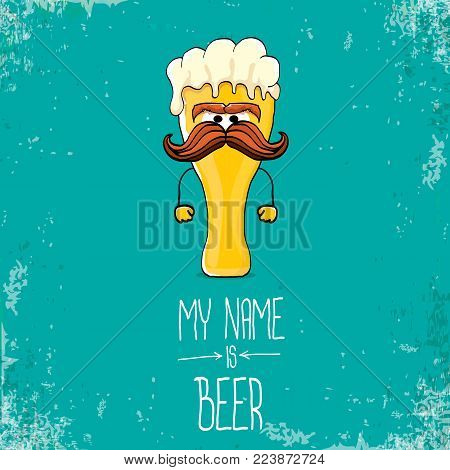 vector cartoon funky fresh beer glass character isolated on grunge azure background.vector beer comic label or poster design template. my name is beer or happy friday concept illustration