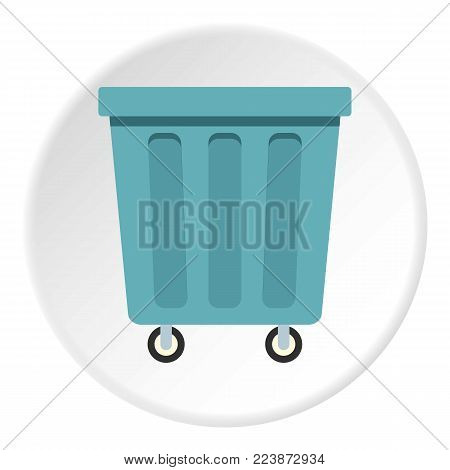 Outdoor blue trash can made of plastic icon in flat circle isolated vector illustration for web