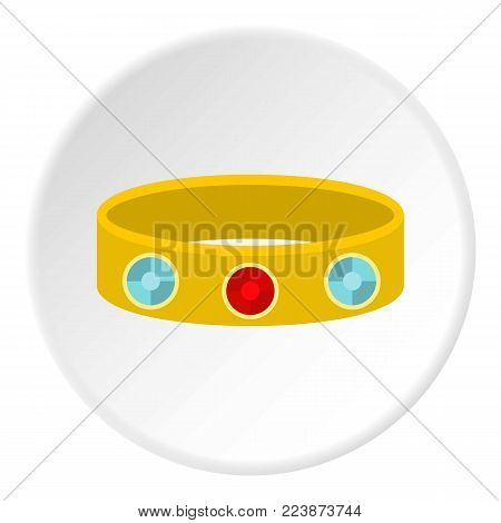 Vintage gold bangle icon in flat circle isolated vector illustration for web