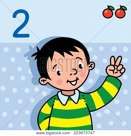 Card 2. Boy in the striped sweater on light-blue background. Kid's hand showing the number two hand sign. Childrens vector illustration for counting education cards from 1 to 10.
