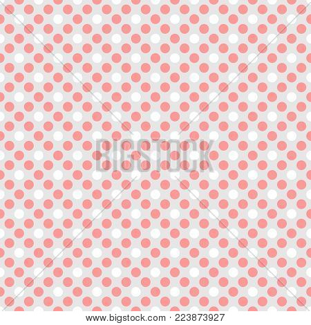 Tile vector pattern with pink and white polka dots on grey background for seamless decoration wallpaper