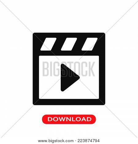 Play player button icon vector in modern flat style for web, graphic and mobile design. Play player button icon vector isolated on white background. Play player button icon vector illustration, editable stroke and EPS10. Play player button icon vector sim