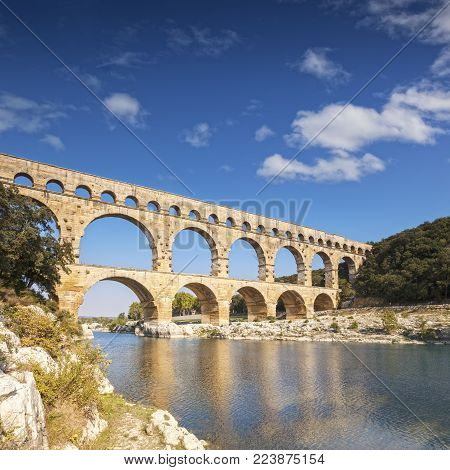 Pont du Gard Roman Aqueduct Languedoc-Roussillon France. The 2000 year old Roman Aquaduct is a huge tourist attraction.