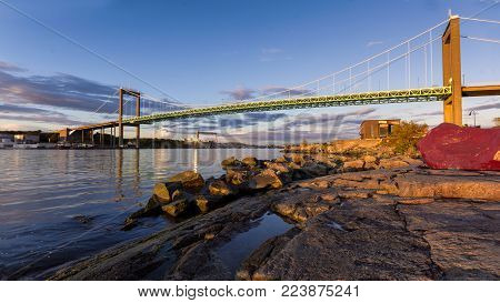 The bridge connecting Miain land to Hissingen  Gothenburg ,Scandic design Sweden 2017, Waiting for those sunny days and beautiful sunsets