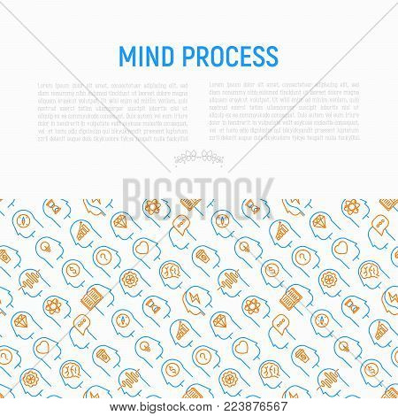 Mind process concept with thin line icons: intelligence, passion, conflict, innovation, time management, exploration, education, logical thinking. Modern vector illustration for web page, print media.