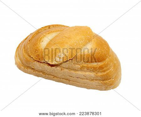 Few pieces of baked fresh bread isolated on white background