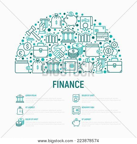 Finance concept in half circle with thin line icons: safe, credit card, piggy bank, wallet, currency exchange, hammer, agreement, handshake, atm slot. Modern vector illustration for banner, web page.