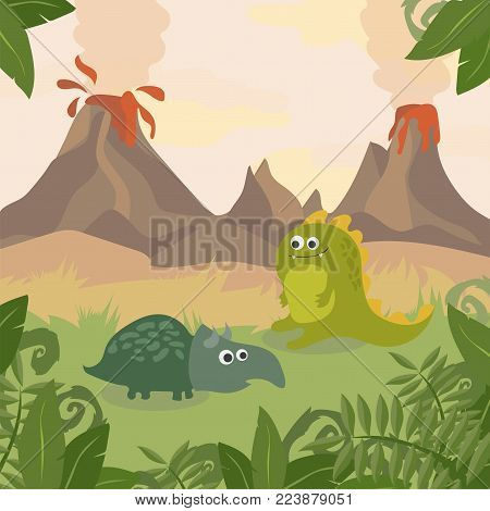 Prehistoric wildlife. Nature landscape with silhouette of dinos, mountains, volcanos