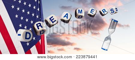 Dreamers children spelling letters on sunset sky and USA flag with hourglass to suggest urgency