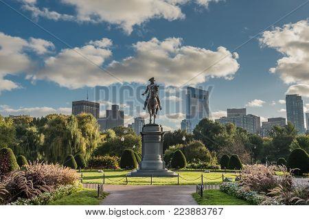 Boston, United States: October 13, 2017: Washington Statue and Boston Skyline