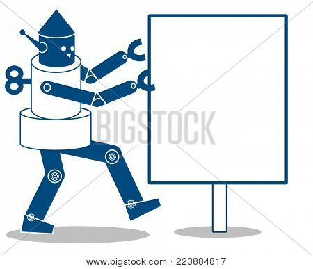 Robot showing a notice board