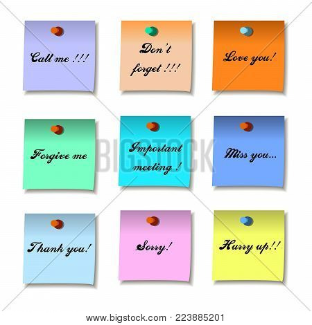Colored set of sticky notes memo. Flat design,  illustration,