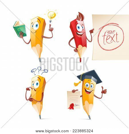 Set of cute funny pencil cartoon. Education concept