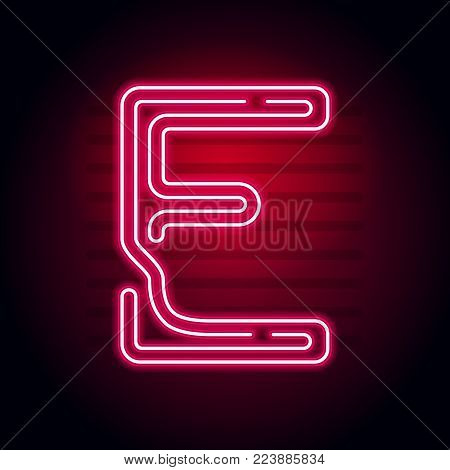 Realistic Red Neon Letter. Character With Neon Glow Tube On Dark Background. Vector Neon Alphabet Fo