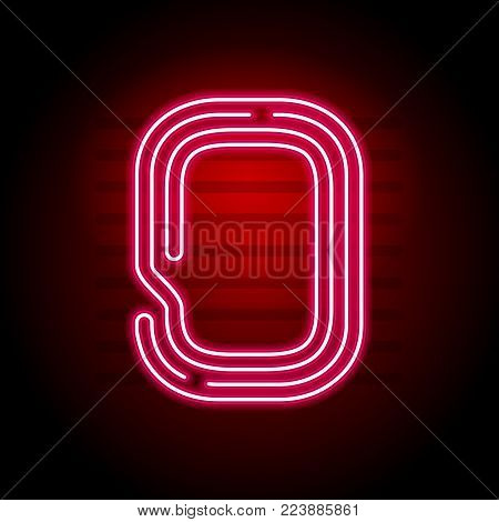 Realistic Red Neon number Character with Neon glow tube on dark background. Vector Neon alphabet for banners, titles, posters etc.