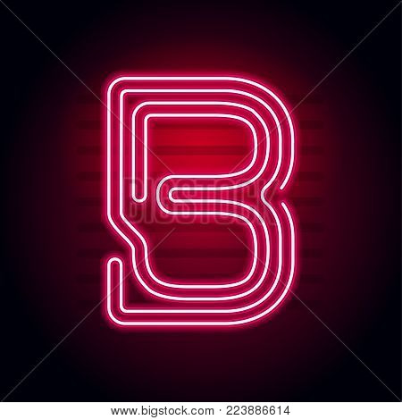 Realistic Red Neon letter. Character with Neon glow tube on dark background. Vector Neon alphabet for banners, titles, posters etc.